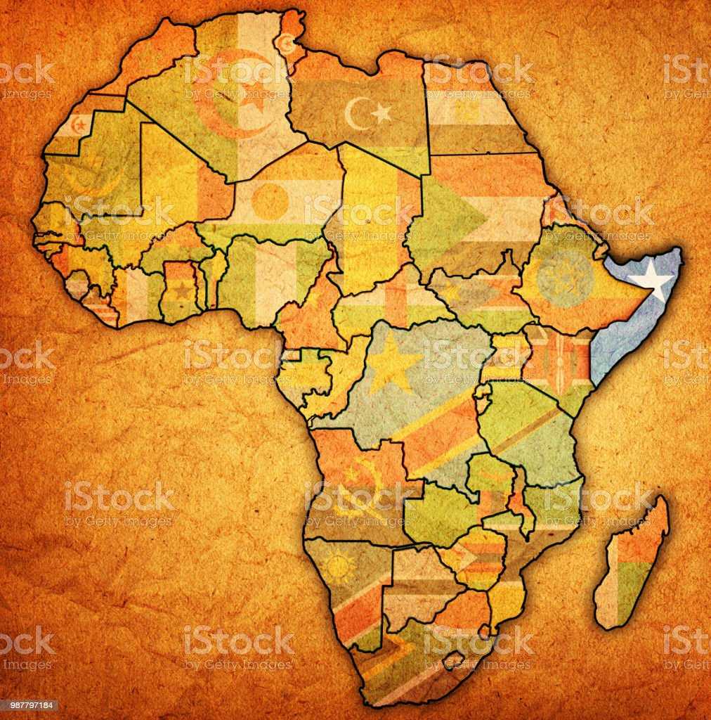 Somalia On Political Map Of Africa Stock Vector Art & More Images of on
