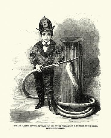 Vintage illustration of Son of a Rhode Island firefighter, 1850s, 19th Century. Richard Jackson Newton