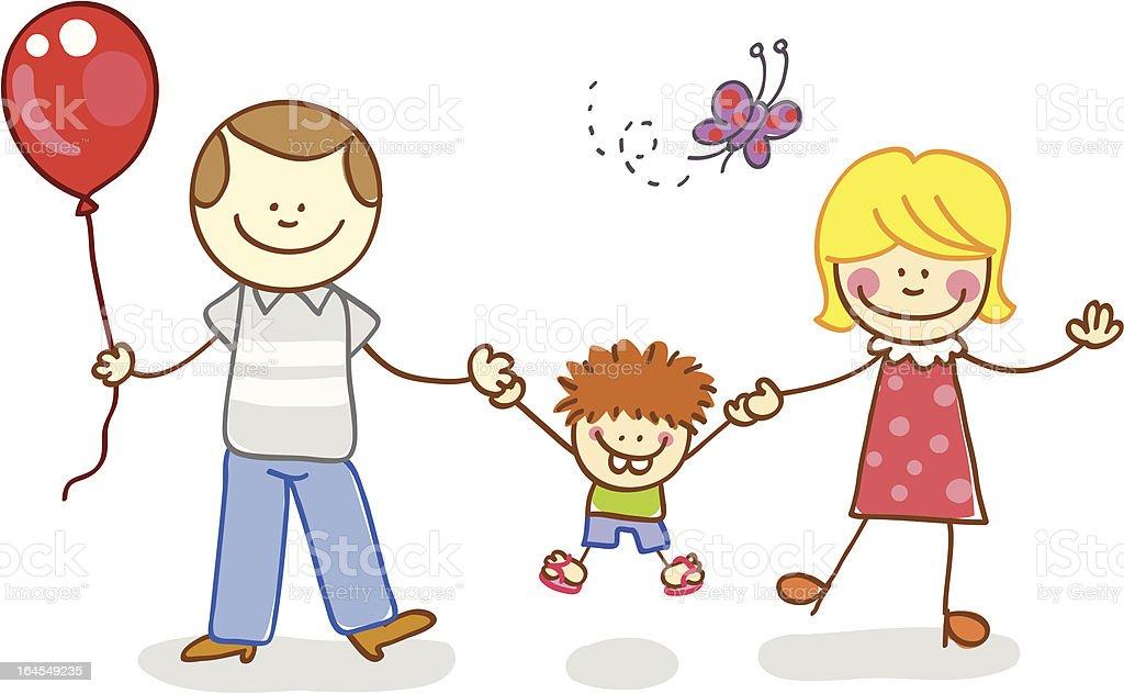 Libro Para Colorear Madre Hija Ilustraciones Vectoriales Clip: Hijo Con Madre Y Padre Ilustración Dibujo Animado