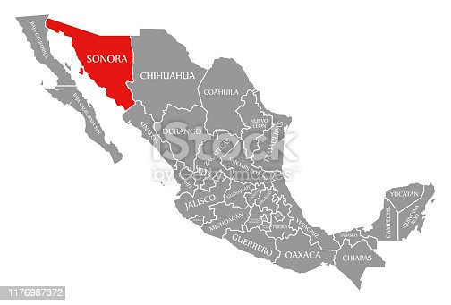 Sonora red highlighted in map of Mexico