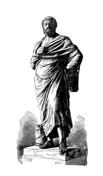 sophocles (antique engraving) - old man standing drawings stock illustrations, clip art, cartoons, & icons