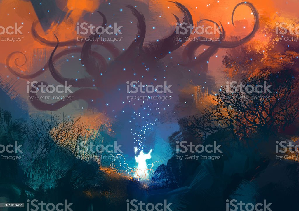 sorcerer casts a spell with his wand vector art illustration