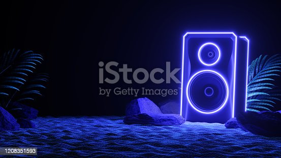 istock Sound speaker in neon light in beach. Futuristic night party banner concept. Summer party. Cyberpunk poster.  Party invitation. Promotion template. 3d illustration. 3d render. 1208351593