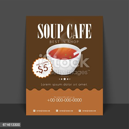 Soup Cafe Flyer Template Or Menu Card Design With Illustration Of