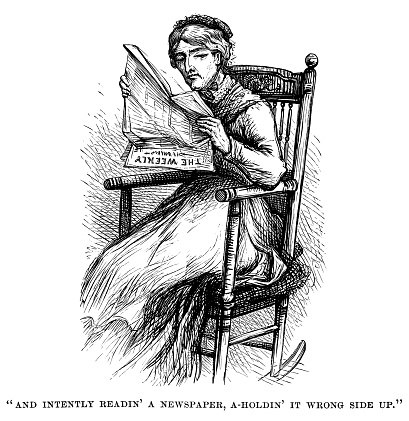 Sour-looking 19th century woman holding a newspaper upside down