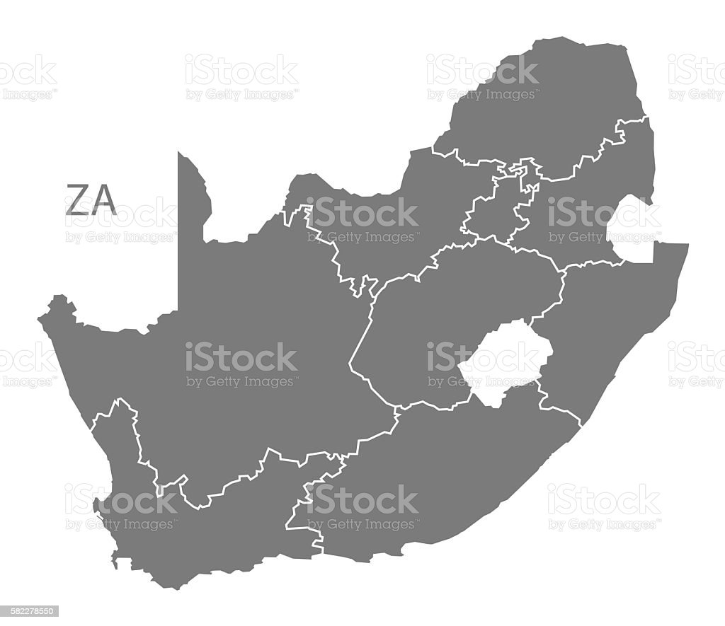 South Africa Map with provinces grey vector art illustration