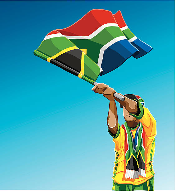 """South Africa Waving Flag Soccer Fan """"Vector Illustration of a South African soccer fan. The background is on a separate layer, so you can use the illustration on your own background. The colors in the .eps and .ai-files are ready for print (CMYK). Included files: EPS (v8), AI (CS2) and Hi-Res JPG."""" soccer stock illustrations"""