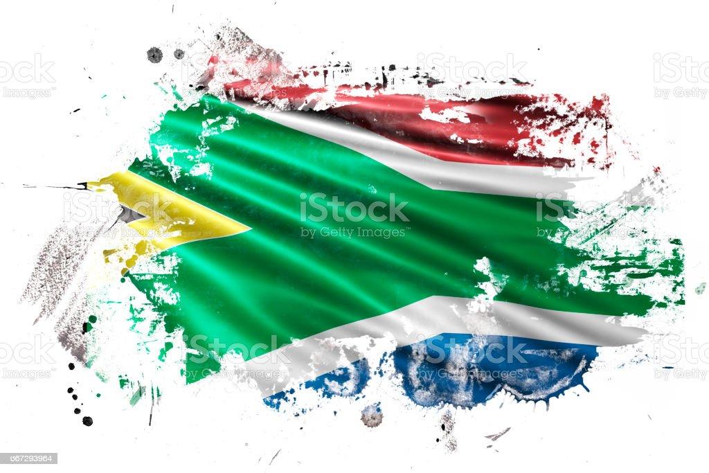 South African Ink Grunge Flag vector art illustration