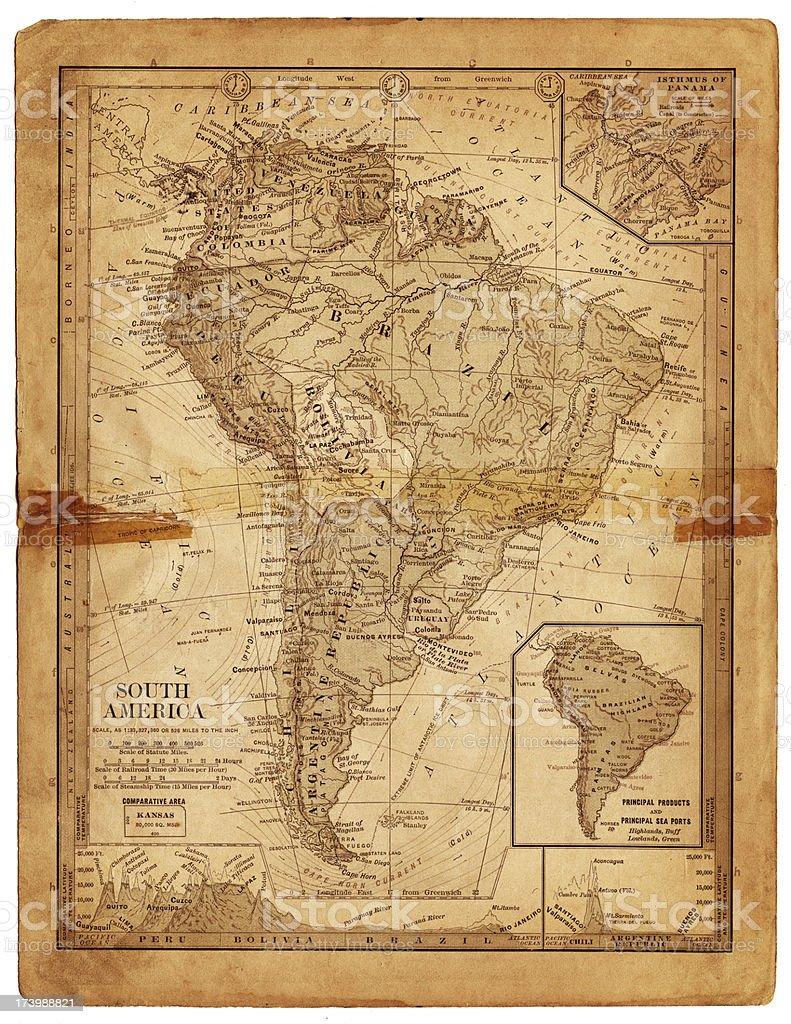 south america 1884 royalty-free stock vector art
