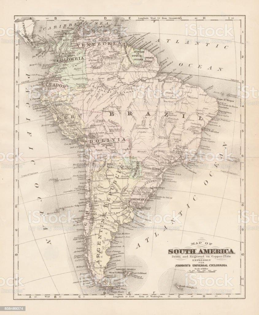 South America map 1893 vector art illustration