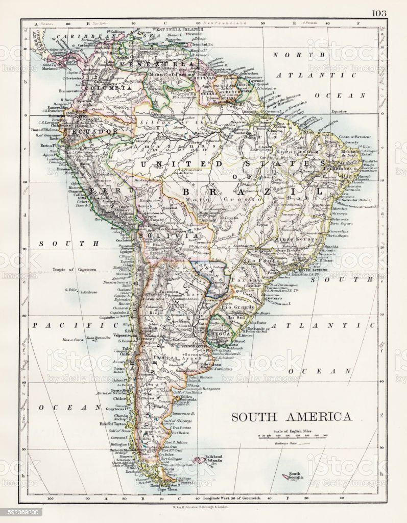 South America map 1897 - ilustración de arte vectorial