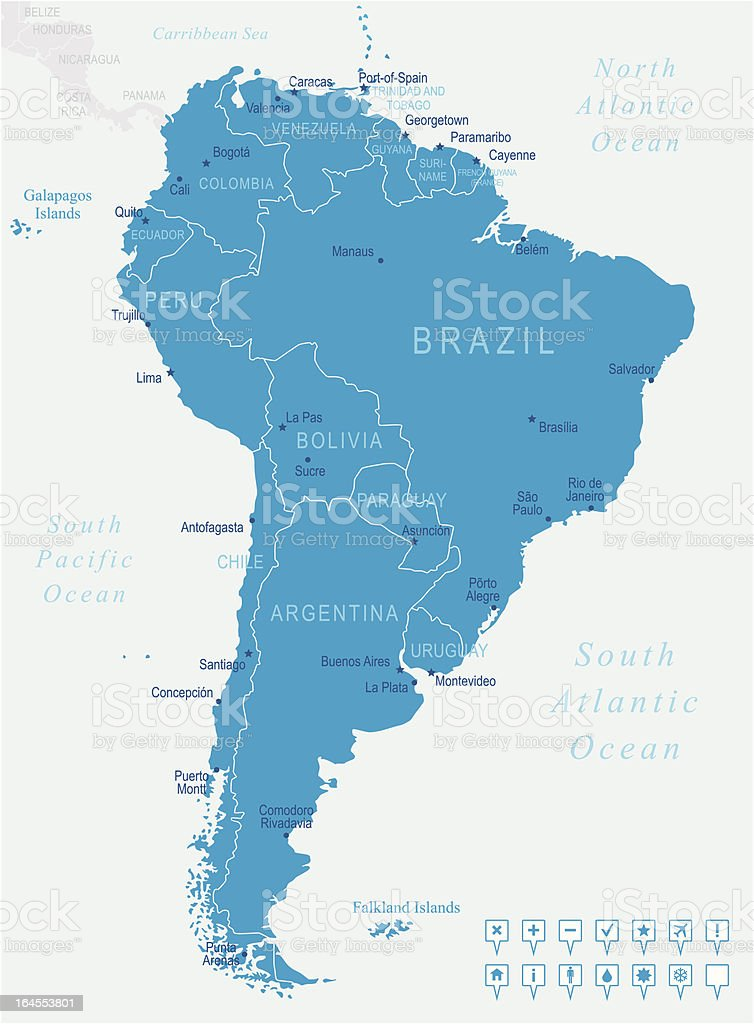 South America - map and navigation icons royalty-free south america map and navigation icons stock vector art & more images of blue