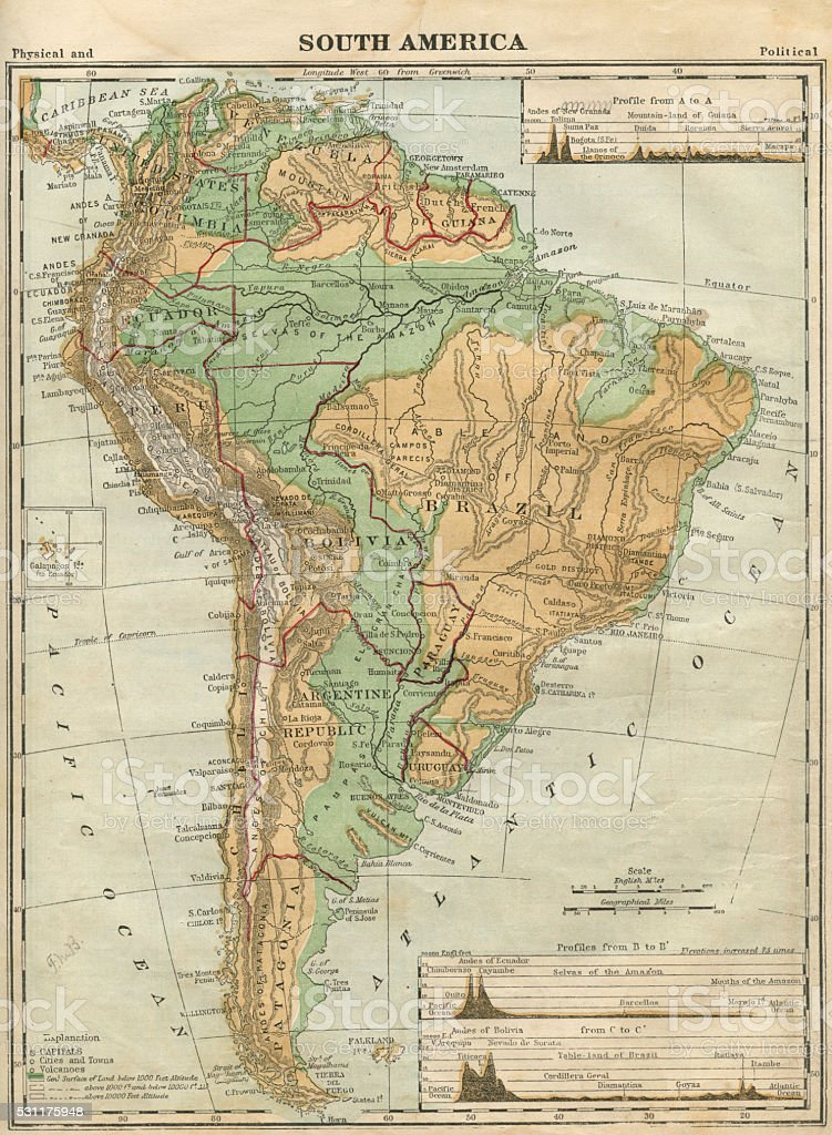 South America Map Illustration, Travel, Exploration, Antique 1871 Illustration vector art illustration