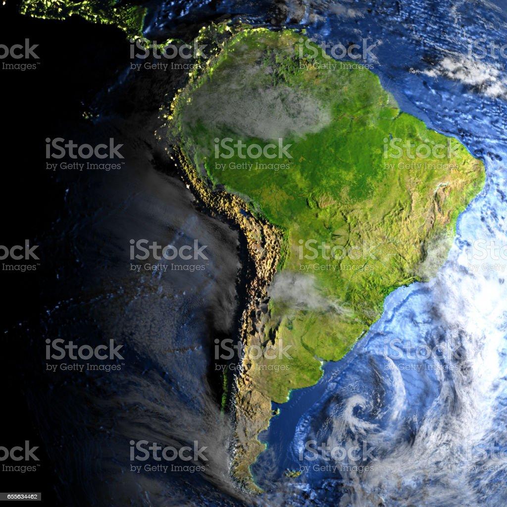 South America on Earth - visible ocean floor vector art illustration