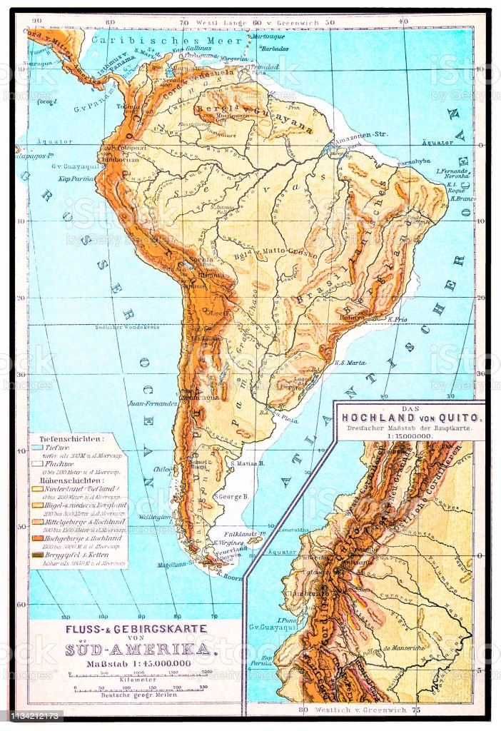 South America River And Mountains Map Stock Illustration - Download ...