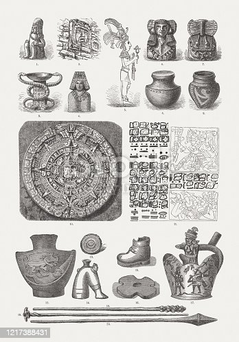 istock South and Central American antiquities, wood engravings, published in 1893 1217388431