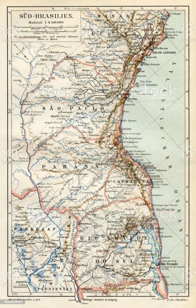 South Brazil map 1895 vector art illustration
