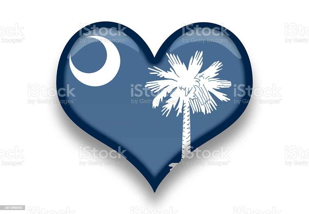 South Carolina State Flag Heart Shape With Shadows Stock Vector Art