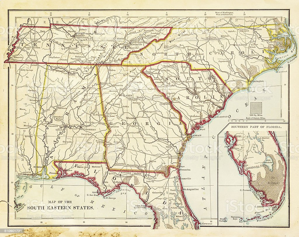 Usa South Eastern States Map 1877 Stock Illustration ...