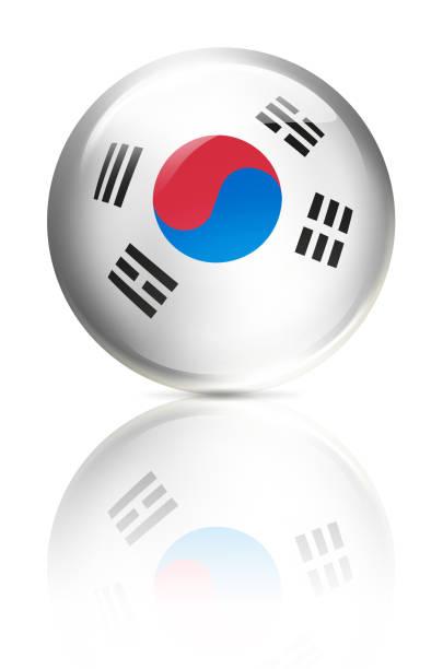 白で隔離フラグで韓国ボタン ボール - 韓国の国旗点のイラスト素材/クリップアート素材/マンガ素材/アイコン素材
