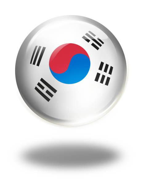 白で隔離フラグを持つ韓国ボタン - 韓国の国旗点のイラスト素材/クリップアート素材/マンガ素材/アイコン素材