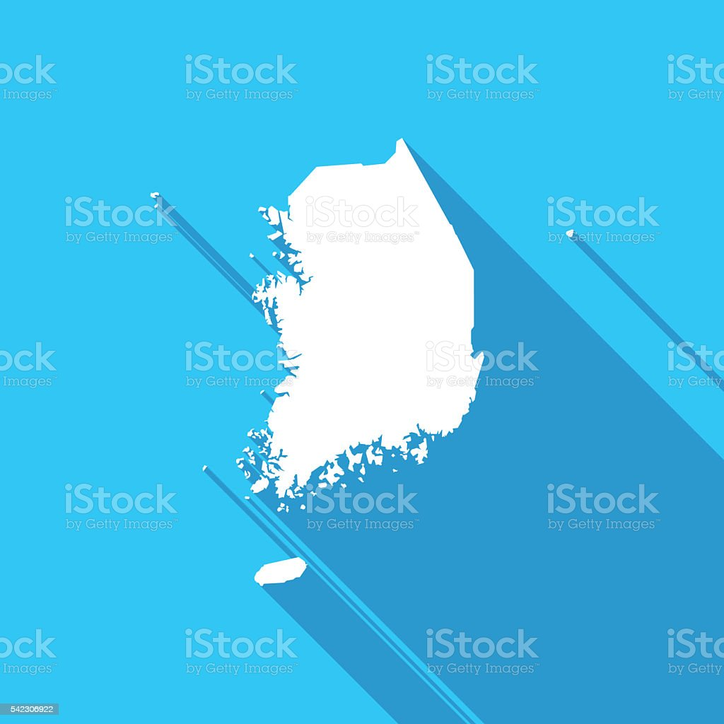 South Korea Map In White On A Blue Background Stock Vector Art