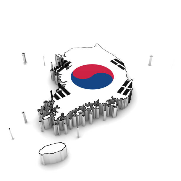 ilustrações, clipart, desenhos animados e ícones de south korea map outline with south korean flag 3d illustration - bandeira da coreia
