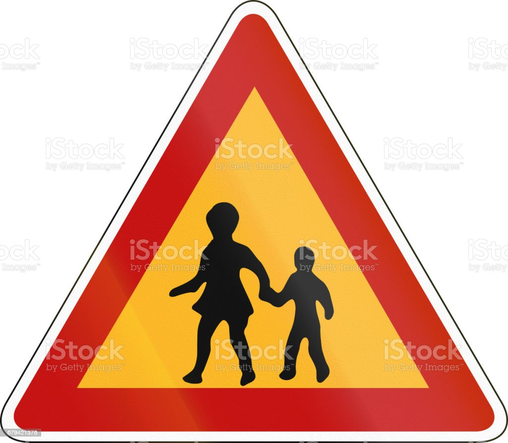 South Korea road sign - Attention - Children royalty-free south korea road sign attention children stock vector art & more images of asia