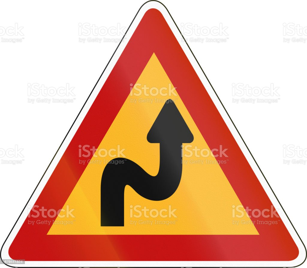 South Korea road sign - Double bend, first to right royalty-free south korea road sign double bend first to right stock vector art & more images of asia