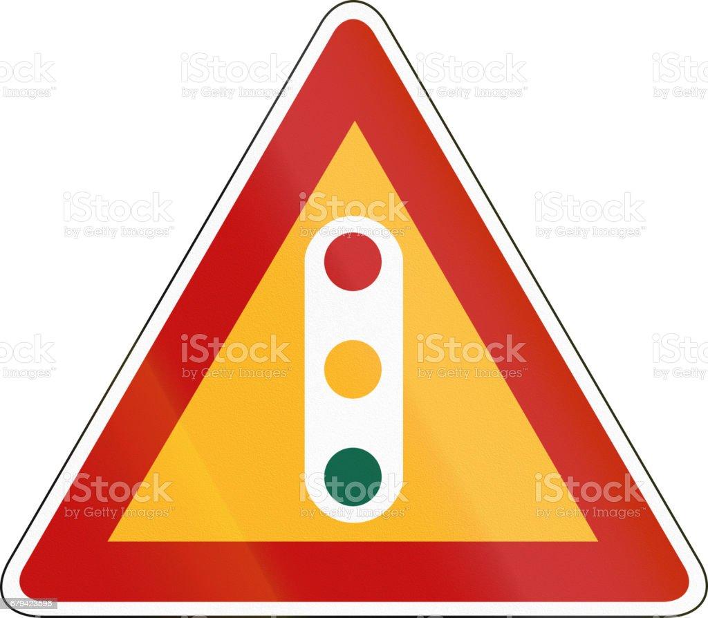 South Korea road sign - Traffic lights vector art illustration