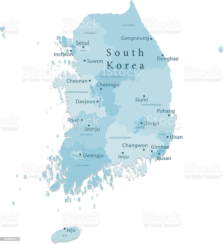 South Korea Vector Map Regions Isolated Stock Illustration ...