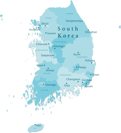 South Korea Vector Map Regions Isolated