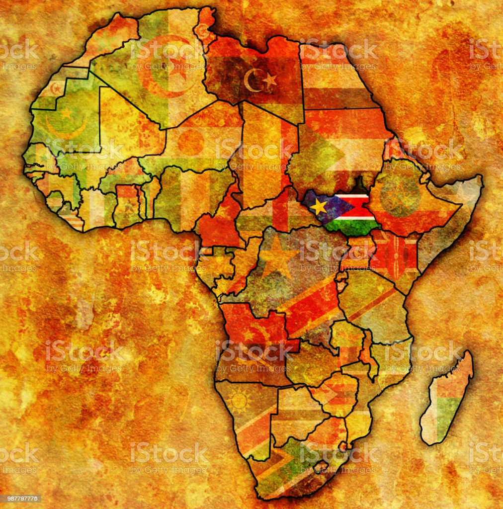 South Sudan On Political Map Of Africa Stock Vector Art & More ...