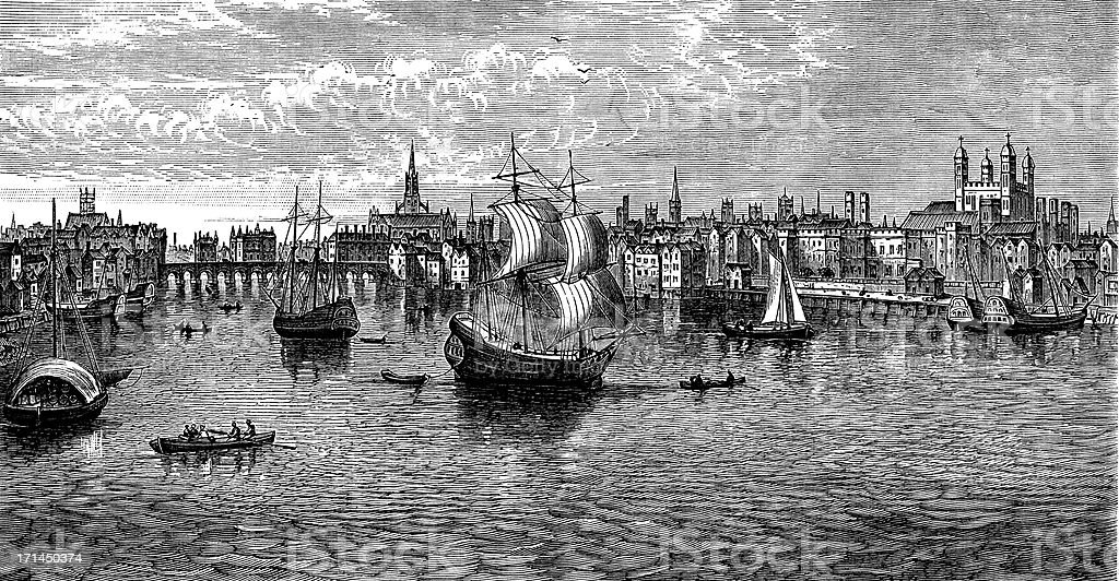 South-East view of London, 1559, tower, St Paul's (engraved illustration) royalty-free stock vector art