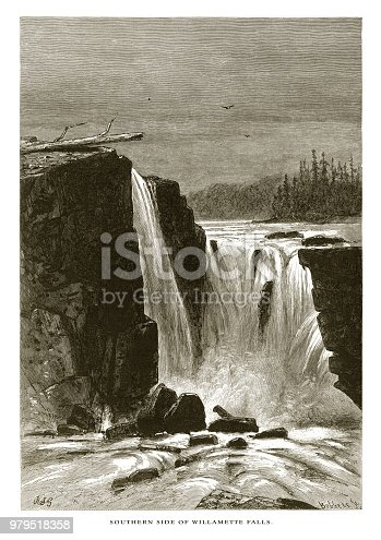 Very Rare, Beautifully Illustrated Antique Engraving of Falls of the Willamette, Cascade Range, Oregon, United States, American Victorian Engraving, 1872. Source: Original edition from my own archives. Copyright has expired on this artwork. Digitally restored.