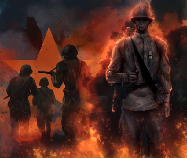 soviet soldier standing in fire. - world war ii stock illustrations, clip art, cartoons, & icons