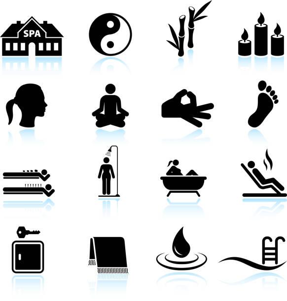 bildbanksillustrationer, clip art samt tecknat material och ikoner med spa meditation and relaxation black & white icon set - stillsam scen