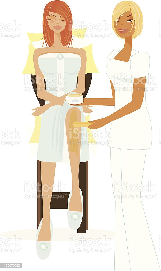 Spa Series Waxing Treatment (white background) vector art illustration
