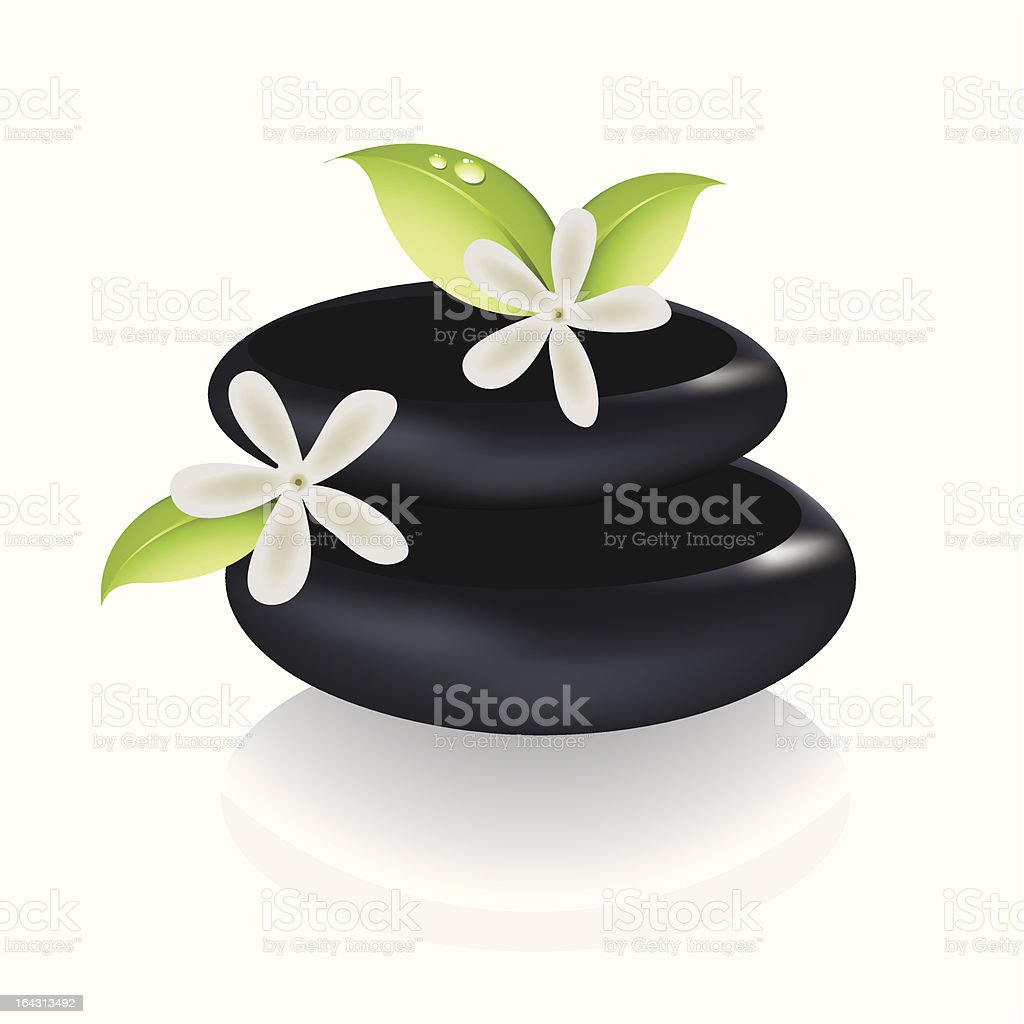Spa stones with flowers royalty-free stock vector art
