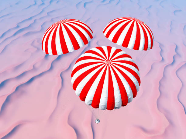 space capsule approaches touchdown in a desert landscape - aerial view soil germany stock-grafiken, -clipart, -cartoons und -symbole