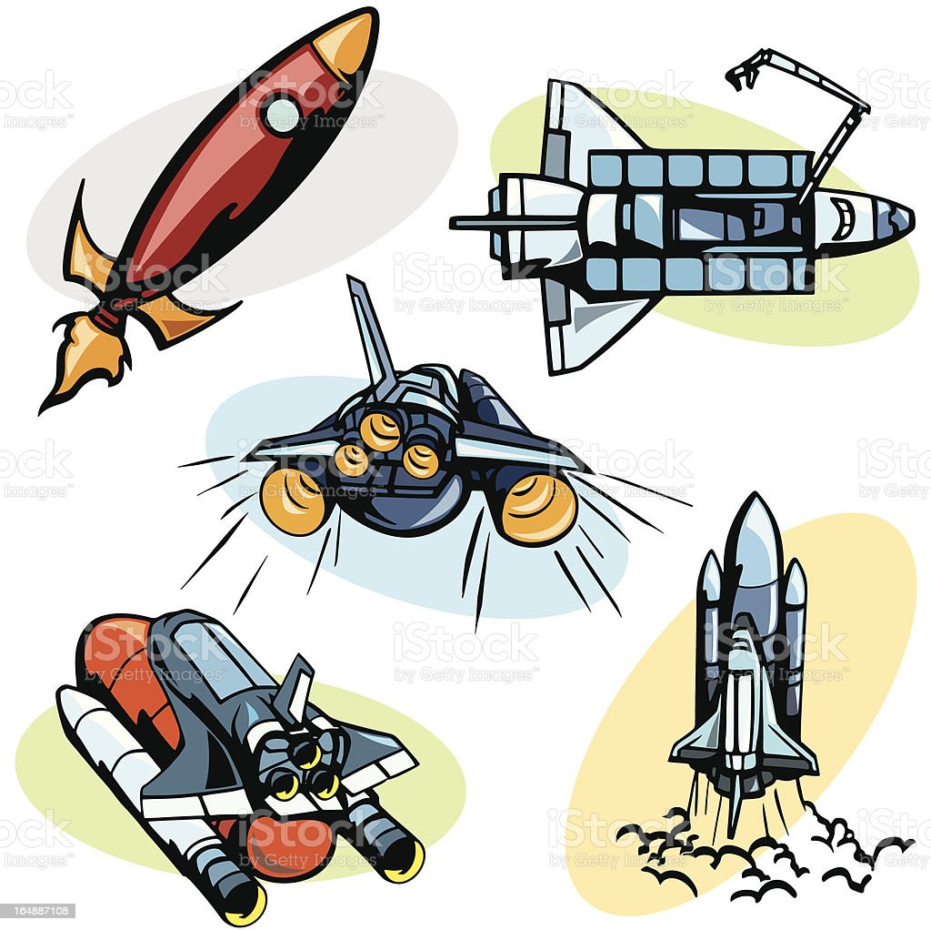 Space illustrations: Shuttles (Vector) royalty-free stock vector art