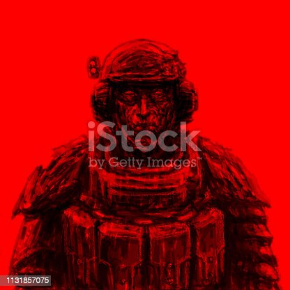 Space trooper in suit. Science fiction genre. Front view. Red background.