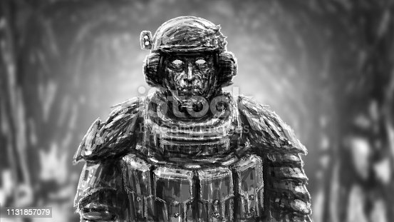 Space trooper in suit. Science fiction genre. Front view. Black and white color.