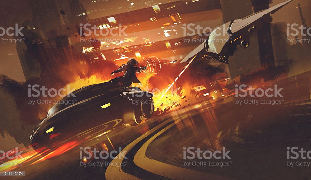 spacecraft chasing futuristic car on highway vector art illustration