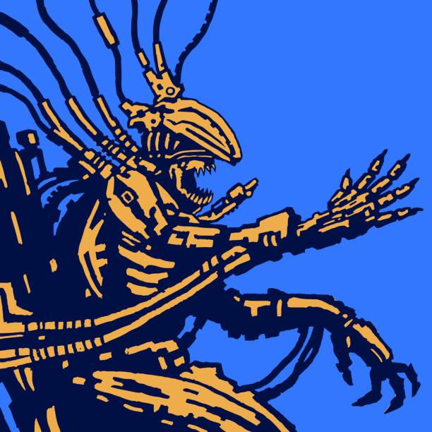bildbanksillustrationer, clip art samt tecknat material och ikoner med spaceman alien sitter i kostym på tronen järn - tron sci fi