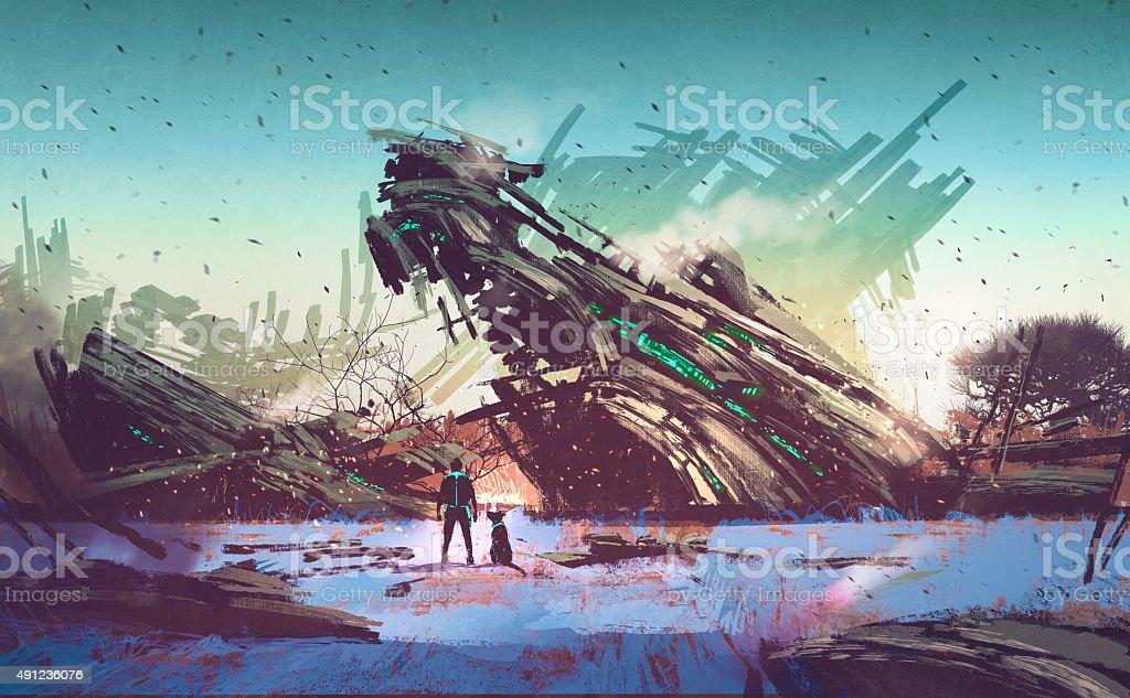 spaceship crashed on blue field vector art illustration