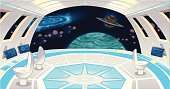 Spaceship interior. Funny cartoon and vector illustration.