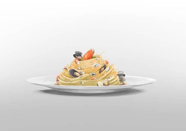 bildbanksillustrationer, clip art samt tecknat material och ikoner med spaghetti alle vongole - pasta vongole