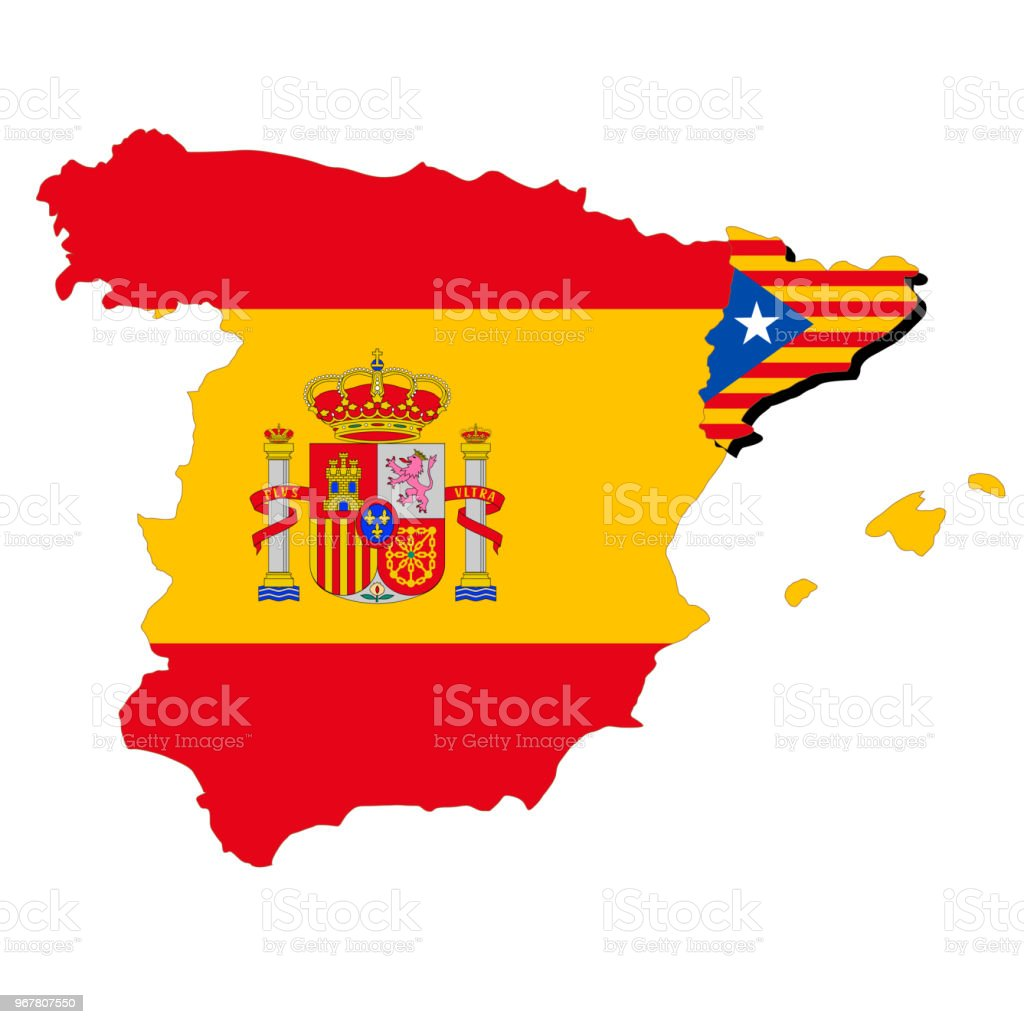 Catalan Map Of Spain.Spain And Catalan Maps And National Flags Stock Illustration