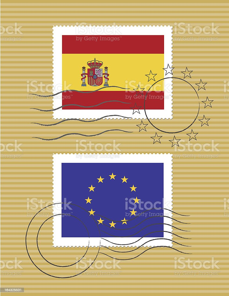 Spain and European Union - stamps with flag royalty-free stock vector art